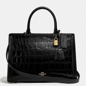 ✅ Coach Croc Embossed Zoe Large Carryall